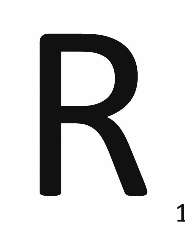 Scrabble-Fliese Buchstabe R 10 × 10 cm - LE0804018