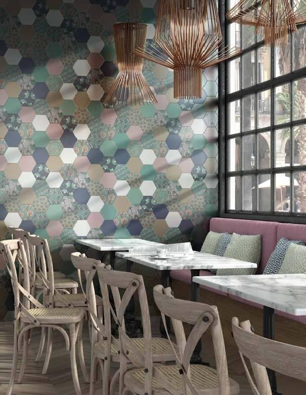 Carrelage hexagonal, la tomette grès cérame good vibes - GO0812006