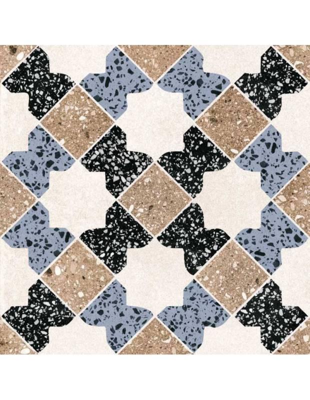 Carrelage grès cérame 25 x 25 cm style terrazzo ancien à motifs mauresques beiges noirs et bleus - PA1715012