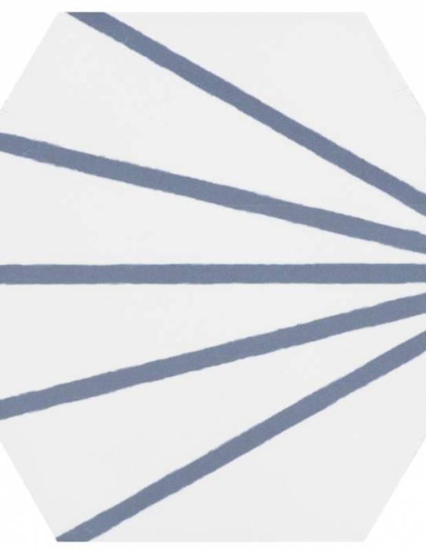 Sechseckige Fliese - Vintage-Design - matt mit blauem Muster - ME9507006