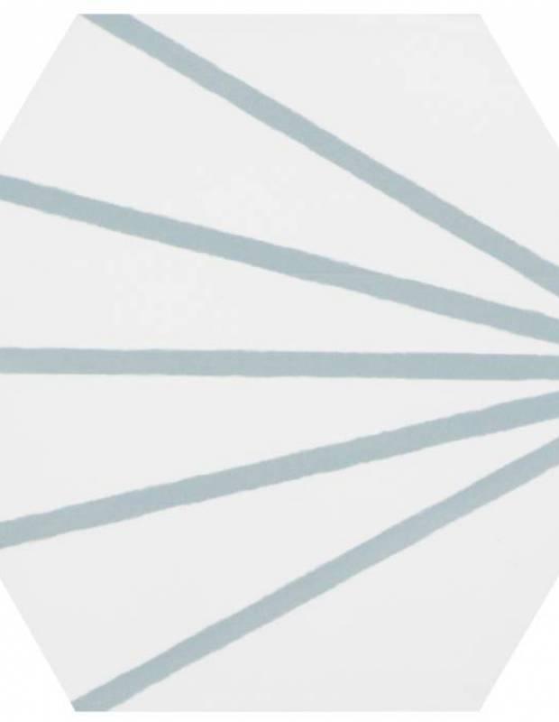 Sechseckige Fliese Vintage-Design - matt mit türkisem Muster - ME9507005