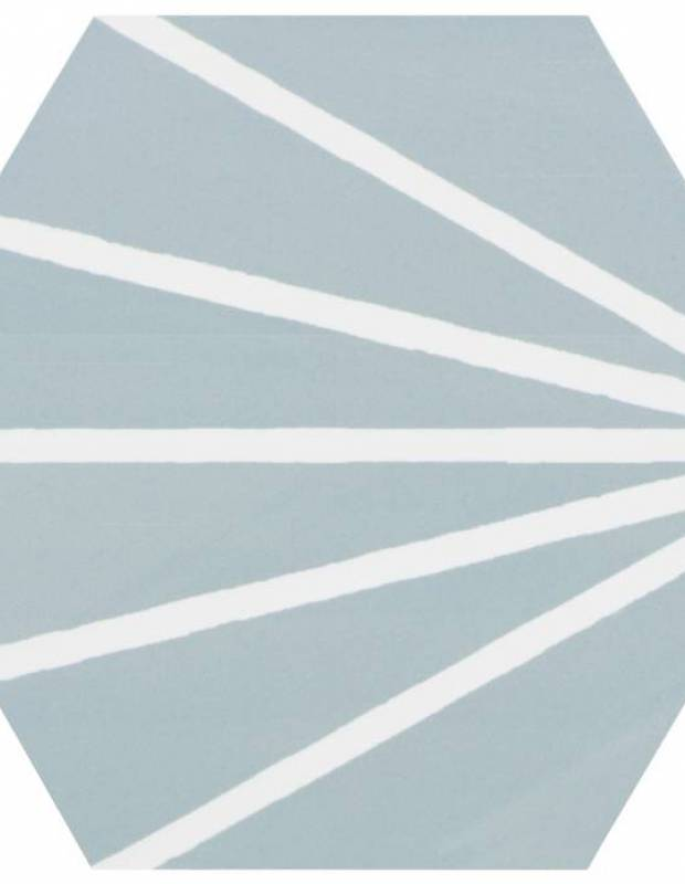 Sechseckige Fliese Vintage-Design - matt mit türkisem Muster - ME9507001