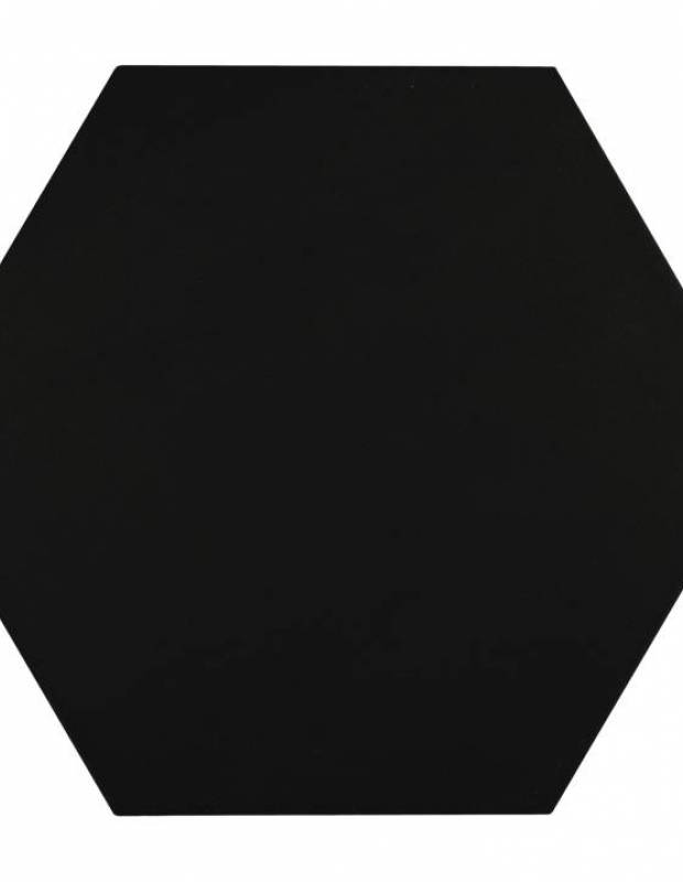 Carrelage uni hexagonal noir en grès cérame de 10 mm d'épaisseur