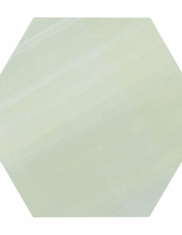 Carrelage uni hexagonal vert en grès cérame de 10 mm d'épaisseur