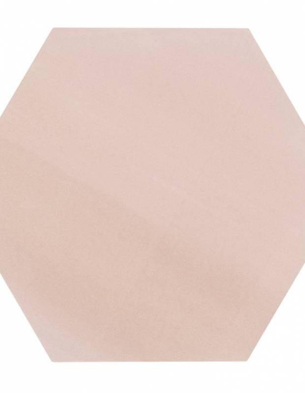 Carrelage uni hexagonal rose en grès cérame de 10 mm d'épaisseur