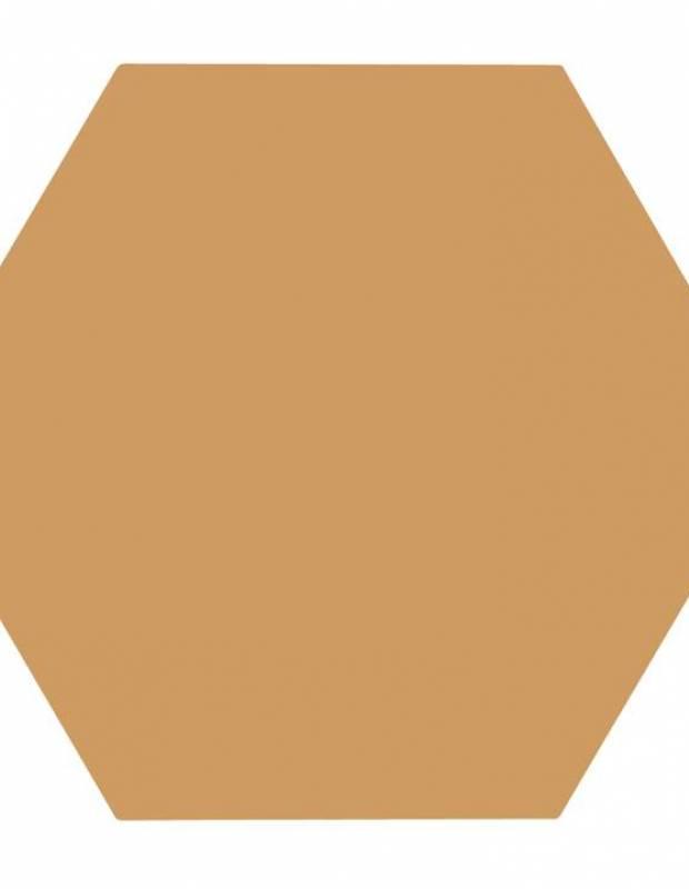 Carrelage uni hexagonal jaune moutarde en grès cérame de 10 mm d'épaisseur