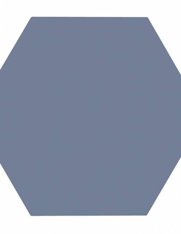 Carrelage uni hexagonal bleu en grès cérame de 10 mm d'épaisseur