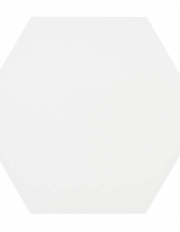 Carrelage uni hexagonal blanc en grès cérame de 10 mm d'épaisseur