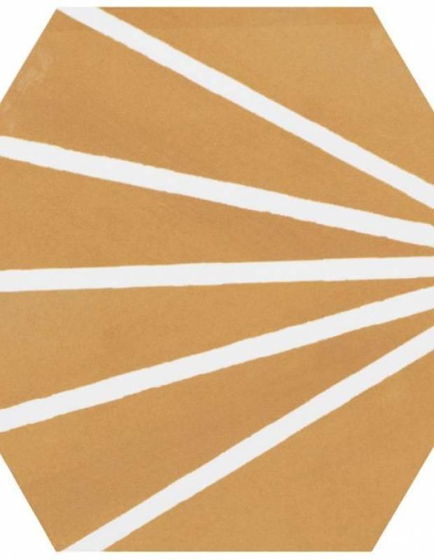 Sechseckige Fliese im Vintage-Design - matt mit gelbem Muster - ME9507007