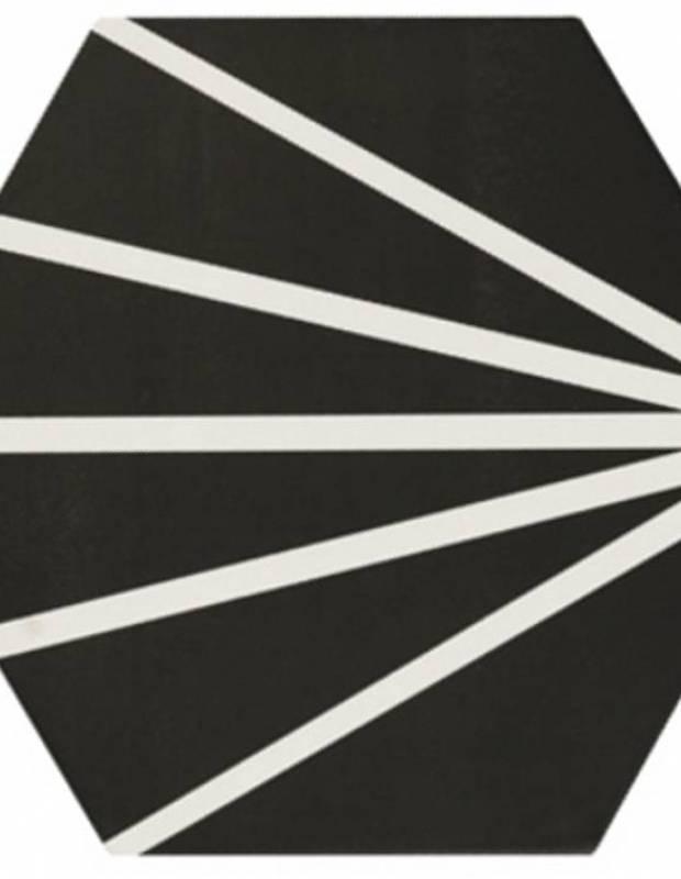 Sechseckige Fliese Vintage-Design - matt mit schwarzem Muster - ME9507010
