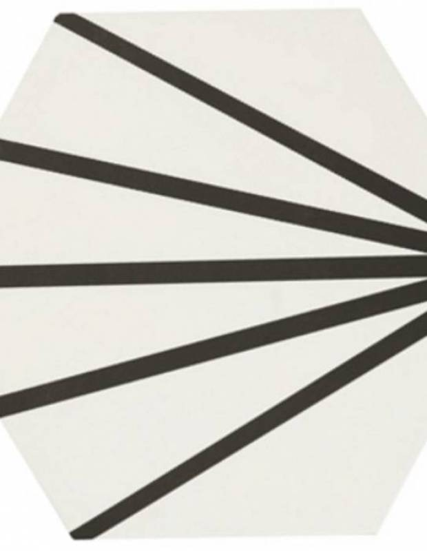 Sechseckige Fliese - Vintage-Design - matt mit schwarzem Muster - ME9507014