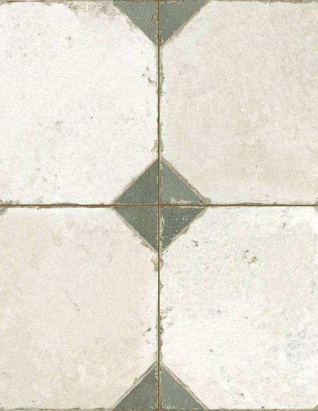 Fliese antik Achteck-Look, 45 × 45 cm weiß und grün - FS1145003