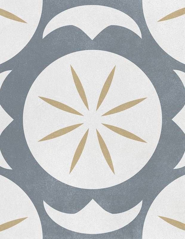 Carrelage imitation carreau de ciment décor gris et jaune - AR1144003