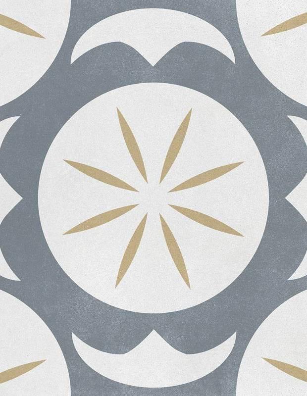 Zementimitat-Fliese grau-gelbes Dekor - AR1144003