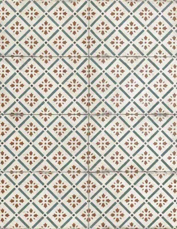 Retro-Wandfliese geometrisches grün-rotes Dekor 15 × 30 cm - RI0112002