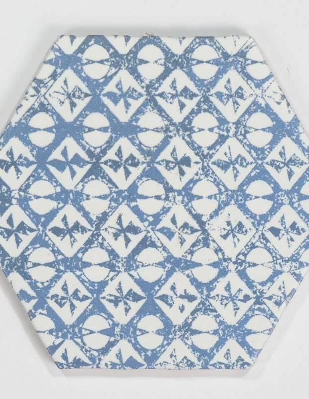 Fliese sechseckig matt blau 15 × 15 cm - HE0811010
