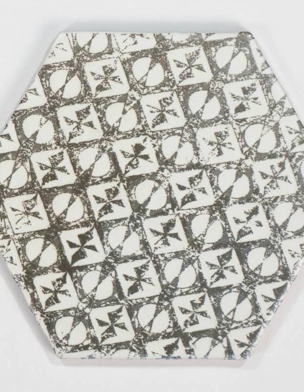 Fliese sechseckig matt schwarz 15 × 15 cm - HE0811013