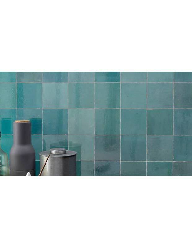 Zellij türkis glänzend handwerklicher Stil 12,5 × 12,5 cm - ZE5901006