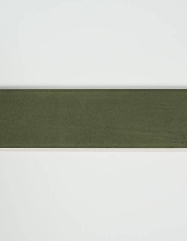 Zellige vert olive - rectangulaire 7.5x30cm - émail brillant - NA9505001