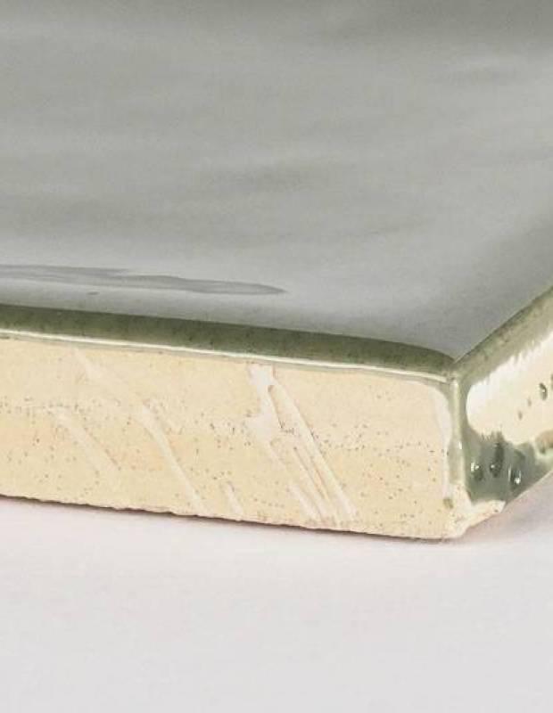 Olivgrüne Zellij - rechteckig 7,5 × 30 cm - glänzende Emaille - NA9505001