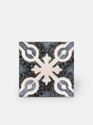 Carrelage grès cérame 25 x 25 cm style terrazzo ancien à motif bleu et noir - PA1715008