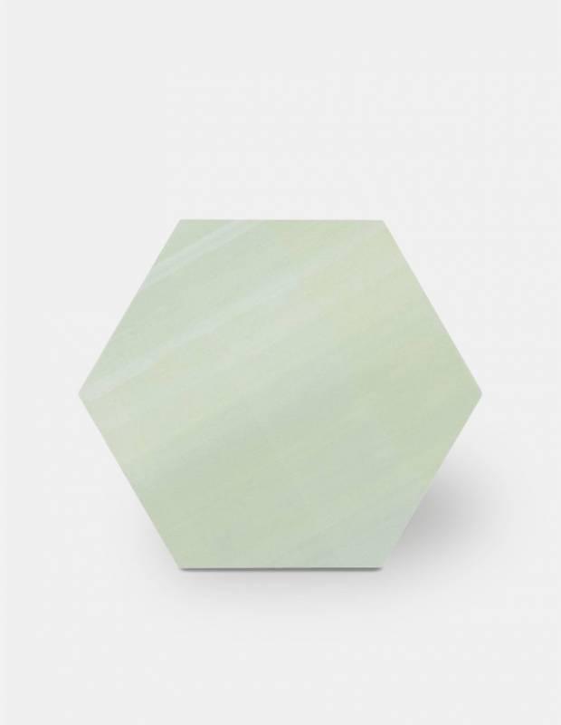 Sechseckige Fliese einfarbig hellgrün Steinzeug 10 mm dick