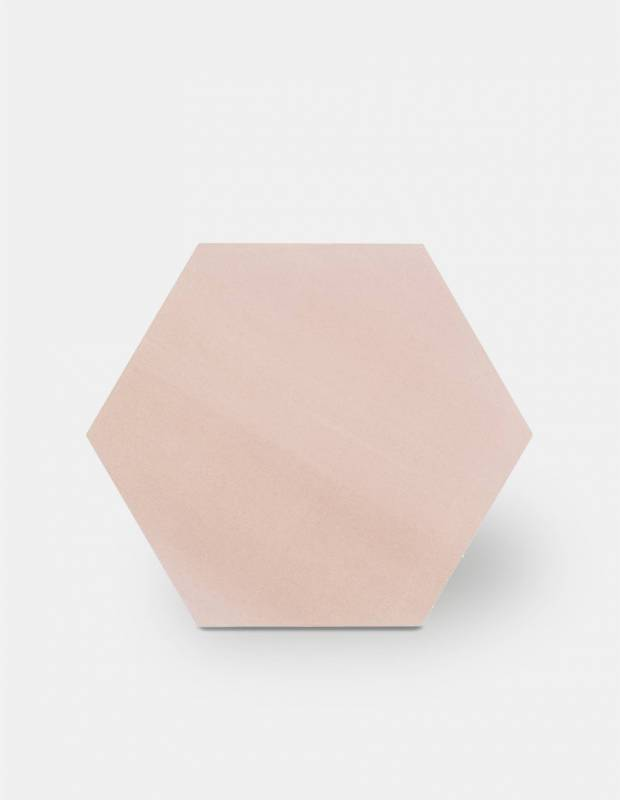 Sechseckige Fliese einfarbig rosa Steinzeug 10 mm dick