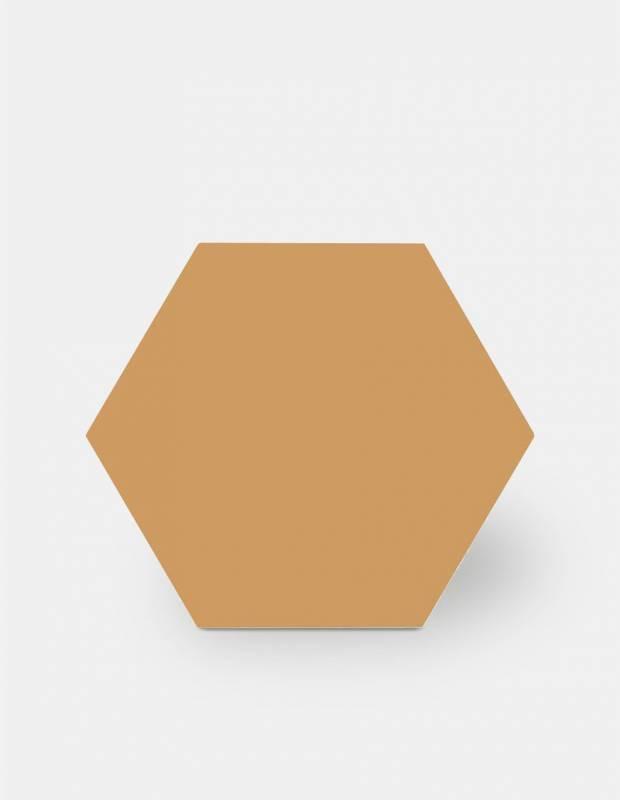 Sechseckige Fliese einfarbig senfgelb Steinzeug 10 mm dick