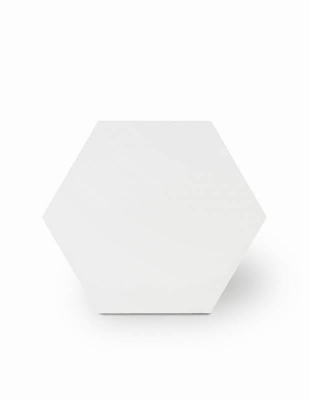 Sechseckige Fliese einfarbig weiß Steinzeug 10 mm dick