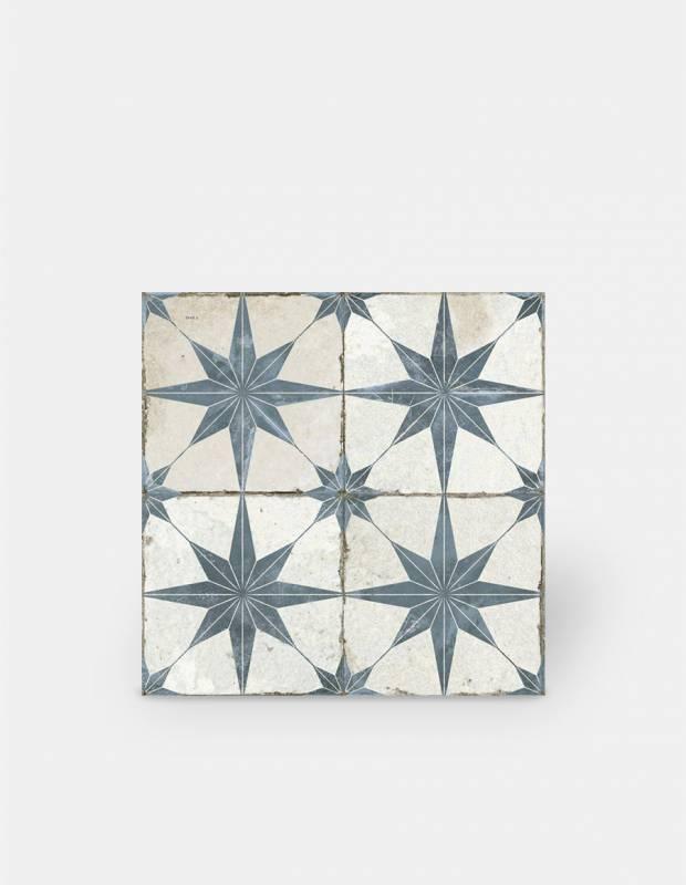 Carrelage retro pour sol - 45x45cm - à motif bleu - FS1132003