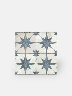 Retro-Bodenfliese - 45 × 45 cm - blaues Muster - FS1132003