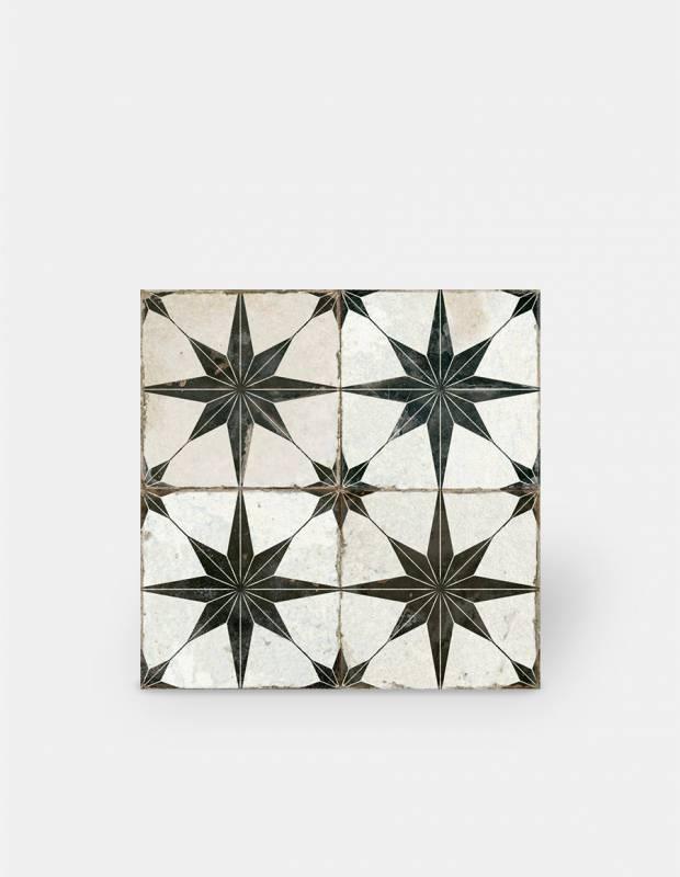 Carrelage retro pour sol 45x45cm - à motif noir - FS1132001
