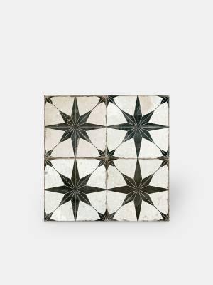 Retro-Bodenfliese - 45 × 45 cm - schwarzes Muster - FS1132001