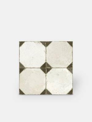 Fliese antik Achteck-Look, 45 × 45 cm weiß und schwarz - FS1145001
