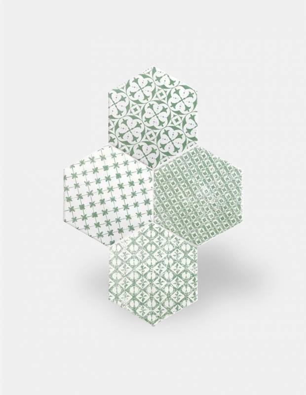Fliese sechseckig matt grün 15 × 15 cm - HE0811014