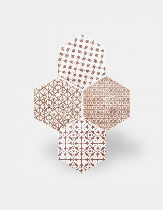 Carrelage hexagonal mat grenat 15 x 15 cm - HE0811011