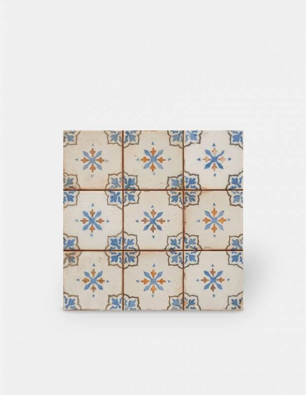 Retro-Bodenfliese 33 × 33 cm: blaues Muster und ekrüfarbener Grund - FS1136001