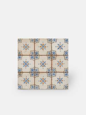 Carrelage retro - pour sol 33x33cm: motif bleu et fond écru - FS1136001