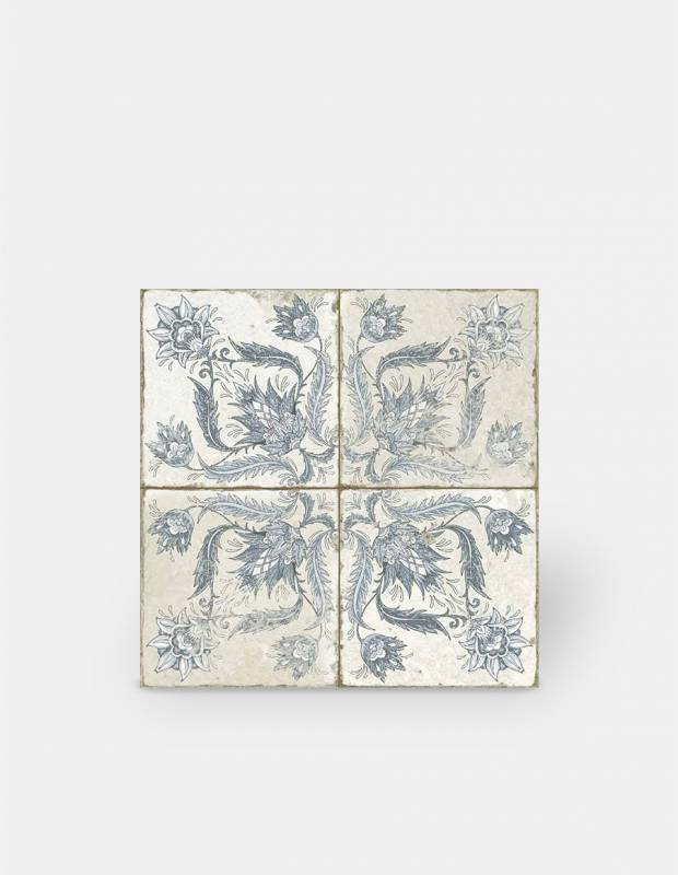 Retro-Fliese antiker Look 45 × 45 cm blaues Dekor - FS1146001