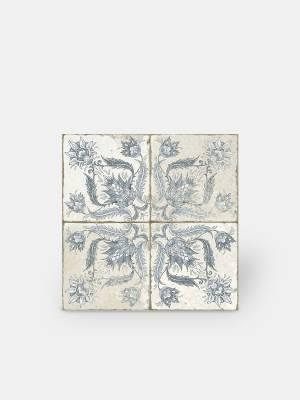 Carrelage rétro aspect ancien 45x 45cm décor bleu - FS1146001