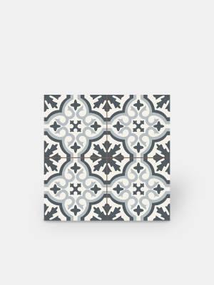 Zementfliesen-Imitat aus Steinzeug - blaues Dekor - ST1140002