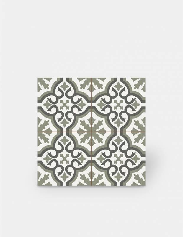 Zementfliesen-Imitat aus Steinzeug - grünes Dekor - ST1140001