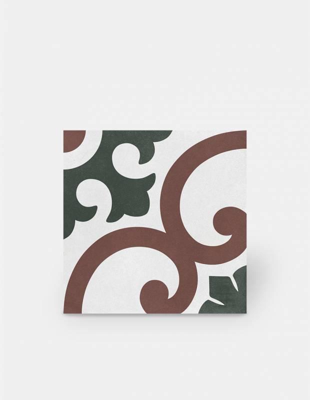 Zementimitat-Fliese rot-grünes Dekor - AR1144001