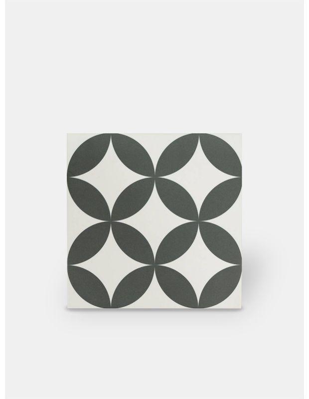 Carrelage grès cérame 25 x 25 cm ancien à cercles noirs - DO1713009