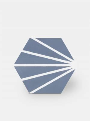 Sechseckige Fliese im Vintage-Design - matt mit blauem Muster - ME9507002