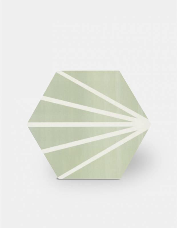 Sechseckige Fliese - Vintage-Design - matt mit grünem Muster - ME9507009