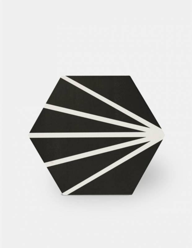 Carrelage hexagonal design vintage - mat à motif noir - ME9507010