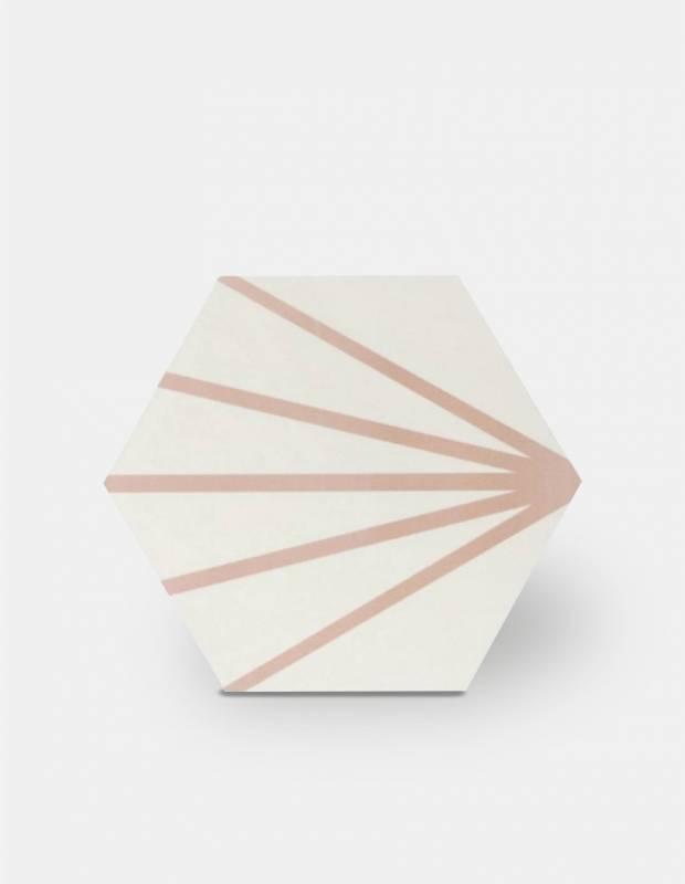 Sechseckige Fliese - Vintage-Design - matt mit rosa Muster - ME9507012