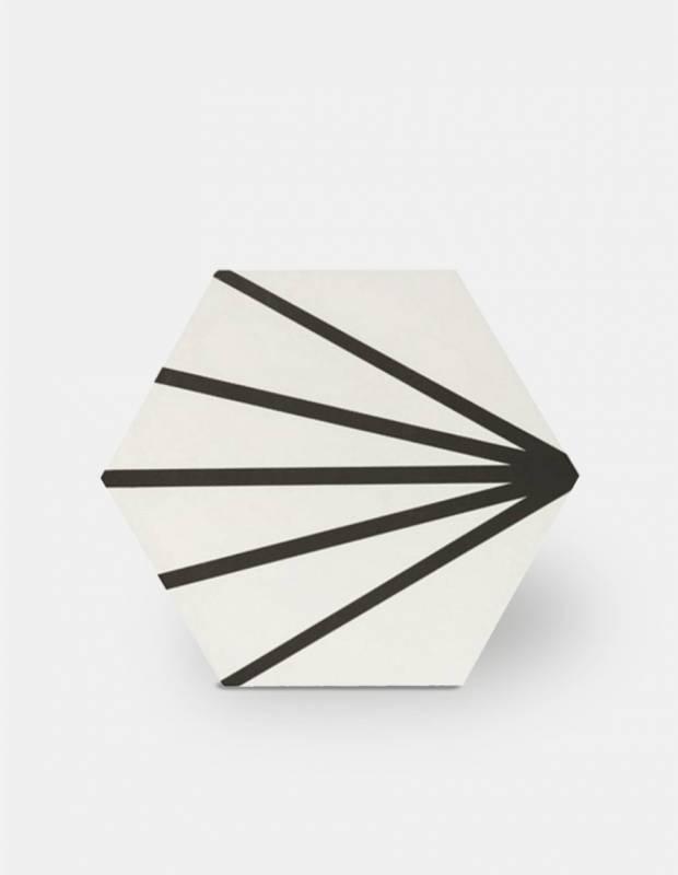 Carrelage hexagonal - design vintage - mat à motif noir - ME9507014