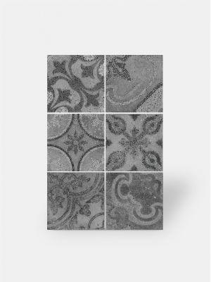 Carrelage grès cérame 25 x 25 cm à motifs anciens noir et blanc - PA1715001